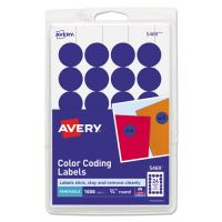 "Avery Printable Removable Color-Coding Labels, 3/4"" dia, Dark Blue, 1008/Pack AVE05469"