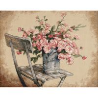 Dimensions Roses On White Chair Counted Cross Stitch Kit NOTM330121