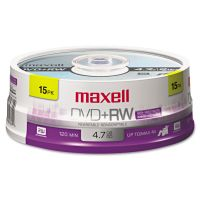 Maxell DVD+RW Discs, 4.7GB, 4x, Spindle, Silver, 15/Pack MAX634046