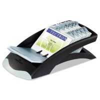 Durable VISIFIX Desk Business Card File, Holds 200 4 1/8 x 2 7/8 Cards, Graphite/Black DBL241301