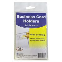 C-Line Self-Adhesive Business Card Holders, Side Load, 3 1/2 x 2, Clear, 10/Pack CLI70238