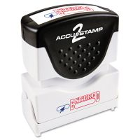 ACCUSTAMP2 Pre-Inked Shutter Stamp, Red/Blue, ENTERED, 1 5/8 x 1/2 COS035544