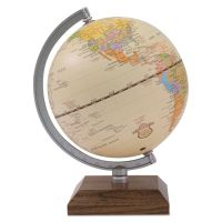 "Advantus Ivory Desk Globe, 5 1/8"" Diameter, Walnut Base/Silver Arm AVT30507"