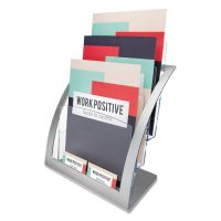 deflecto 3-Tier Literature Holder, Leaflet Size, 11 1/4 x 6 15/16 x 13 5/16, Silver DEF693745