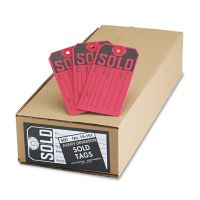 Avery Sold Tags, Paper, 4 3/4 x 2 3/8, Red/Black, 500/Box AVE15161