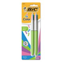 BIC 4-Color Retractable Ballpoint Pen, Assorted Ink, 1mm, Medium, 2/Pack BICAMP21