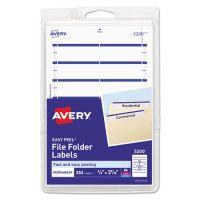 Avery Print or Write File Folder Labels, 11/16 x 3 7/16, White/Dark Blue Bar, 252/Pack AVE05200