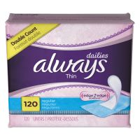 Always Dailies Thin Liners, Regular, 120/Pack PGC10796PK