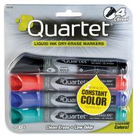Quartet EnduraGlide Dry Erase Marker, Chisel Tip, Assorted Colors, 4/Set QRT5001M
