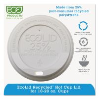Eco-Products EcoLid 25% Recy Content Hot Cup Lid, White, F/10-20oz, 100/PK, 10 PK/CT ECOEPHL16WR