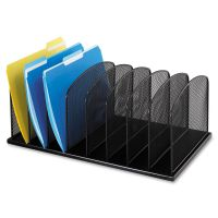 Safco Mayline Mesh Desk Organizer, Eight Sections, Steel, 19 1/2 x 11 1/2 x 8 1/4, Black SAF3253BL