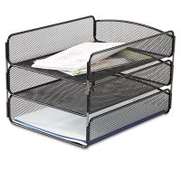 Safco Desk Tray, Three Tiers, Steel Mesh, Letter, Black SAF3271BL