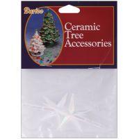 "Ceramic Christmas Tree Stars 2.75""X1.875"" 2/Pkg NOTM429688"