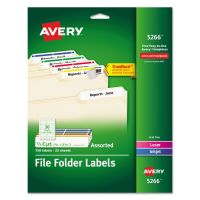 Avery Permanent File Folder Labels, TrueBlock, Inkjet/Laser, Assorted, 750/Pack AVE5266