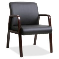 Lorell Black Leather Wood Frame Guest Chair LLR40201
