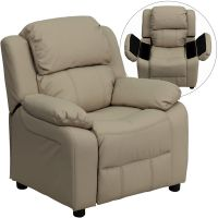 Flash Furniture Deluxe Padded Contemporary Beige Vinyl Kids Recliner with Storage Arms FHFBT7985KIDBGEGG