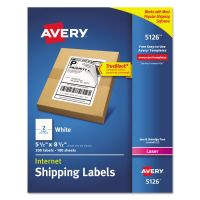 Avery Shipping Labels with TrueBlock Technology, Laser, 5 1/2 x 8 1/2, White, 200/Box AVE5126