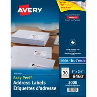 Avery Easy Peel Mailing Address Labels, Inkjet, 1 x 2 5/8, White, 3000/Box AVE8460