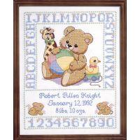 Janlynn Bear Birth Sampler Stamped Cross Stitch Kit NOTM251301