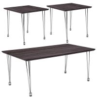 Flash Furniture Georgetown Collection 3 Piece Coffee and End Table Set in Charcoal Wood Grain Finish with Chrome Legs FHFHGCEK9GG