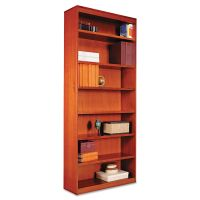 Alera Square Corner Wood Bookcase, Seven-Shelf, 35-5/8 x 11-3/4 x 84, Medium Cherry ALEBCS78436MC