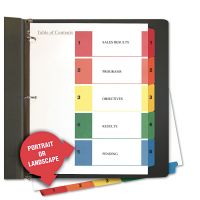 Universal Table of Contents Dividers, Assorted Color 5-Tab, 1-5, Letter, White, 6/Pack UNV24800