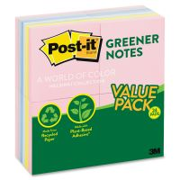Post-it Greener Notes Recycled Note Pads, 3 x 3, Assorted Helsinki Colors, 100-Sheet, 24/Pack MMM654RP24AP