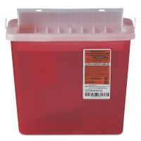 Medline Sharps Container for Patient Room, Plastic, 5qt, Rectangular, Red MIIMDS705153H