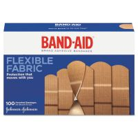 BAND-AID Flexible Fabric Adhesive Bandages, Assorted, 100/Box JOJ11507800