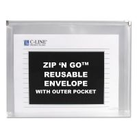 C-Line Zip n Go Reusable Envelope w/Outer Pocket, 13 x 10, Clear, 3/Pack CLI48117