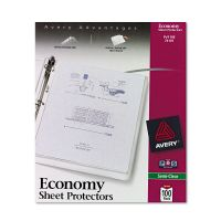 Avery Top-Load Sheet Protector, Letter, Economy Gauge, Semi-Clear, 100/Box AVE74101