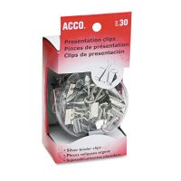 ACCO Metal Presentation Clips, Assorted Sizes, Silver, 30/Box ACC71138