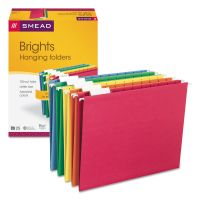 Smead Hanging File Folders, 1/5 Tab, 11 Point Stock, Letter, Assorted Colors, 25/Box SMD64059