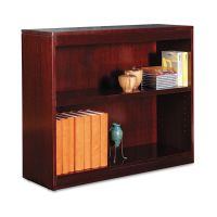 Alera Square Corner Wood Veneer Bookcase, Two-Shelf, 35-5/8w x 11-3/4d x 30h, Mahogany ALEBCS23036MY
