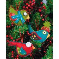 Whimsical Birds Ornaments Felt Applique Kit NOTM476890
