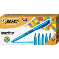 BIC Brite Liner Highlighter, Chisel Tip, Fluorescent Blue, Dozen BICBL11BE