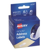 Avery Thermal Printer Address Labels, 1 1/8 x 3 1/2, White, 130/Roll, 2 Rolls AVE4150