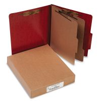 ACCO 20-Pt PRESSTEX Classification Folders, Letter, 6-Section, Red, 10/Box ACC15006