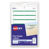 Avery Print or Write File Folder Labels, 11/16 x 3 7/16, White/Green Bar, 252/Pack AVE05203
