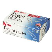 ACCO Premium Paper Clips, Smooth, #1, Silver, 100/Box, 10 Boxes/Pack ACC72360