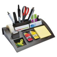 "Post-it Notes Dispenser with Weighted Base, Plastic, 10 1/4"" x 6 3/4"" x 2 3/4"", Black MMMC50"