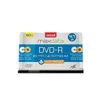 Maxell DVD-R Recordable Discs, Printable, 4.7GB, 16x, Spindle, White, 50/Pack MAX638022