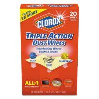 Clorox Triple Action Dust Wipes, White, 8 1/2 x 7, 20/Box CLO31313EA