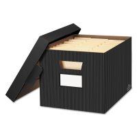 Bankers Box STOR/FILE Decorative Storage Box, Letter/Legal, Black/Gray, 4/Carton FEL0029803