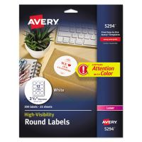 Avery High-Visibility Round Permanent ID Labels, Laser, 2 1/2 dia, White, 300/Pack AVE5294