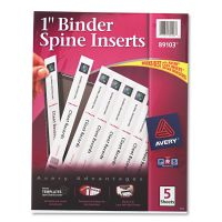"Avery Binder Spine Inserts, 1"" Spine Width, 8 Inserts/Sheet, 5 Sheets/Pack AVE89103"