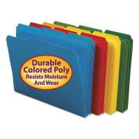Smead Waterproof Poly File Folders, 1/3 Cut Top Tab, Letter, Assorted, 24/Box SMD10500