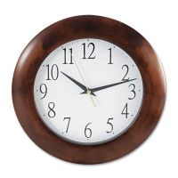 "Universal Round Wood Clock, 12 3/4"", Cherry UNV10414"