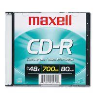 Maxell CD-R Disc, 700MB/80min, 48x, w/Slim Jewel Case, Silver MAX648201