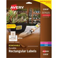 Avery Removable Durable White Rectangle Labels, 1 1/4 x 1 3/4, Glossy, 256/PK AVE22828